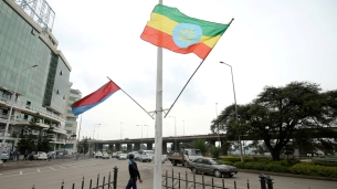 Eritrean and Ethiopian flags lined the street of Addis Ababa during Eritrea's president Isasias Afwerki's recent vist to the city. Image by Tiksa Negeri via Reuters.