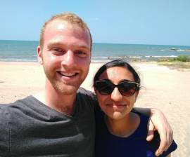 Sharanya and I at the beach.