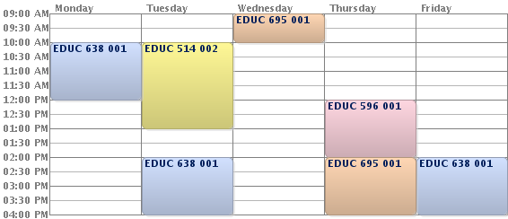 A screenshot of a course schedule calendar.