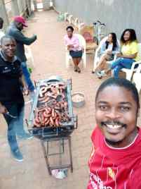 Having some Braai( BBQ) with my coworkers for a leaving party at the office